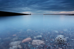 Indigo (Steve Clasper) Tags: uk longexposure blue light rocks piers north northern northeast tynemouth priorshaven steveclasper