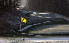 Unexpected Snow (mvos18) Tags: light sun snow canon golf pin path flag course snowfall 60d