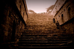 Step well (priyam.n) Tags: blackandwhite india sepia delhi archaeological mehrauli rajonkibaoli konomark