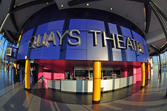 Quays Theatre (jonnywalker) Tags: city uk blue england architecture buildings manchester northwest theatre salfordquays quay fisheye greater trafford salford quays itv lowrytheatre greatermanchester thestudios mediacityuk