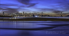 San Francisco Skyline in Twilight (CircadianReflections Photography) Tags: nightphotography bridge blue oakland bay nikon meetup pacificocean nikkor sanfranciscoskyline oaklandbaybridge cs6 d700 lexarprofessionaldigitalfilm pyramidbldg 28105mmafd coittowerinred