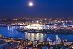 London: The O2 Arena (ovofrito) Tags: uk blue england moon london thames architecture night river cityscape shot o2 aerial arena hour dome
