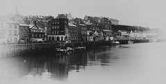 Whitby...(Explore #9) (~Shurlee~) Tags: winter sea bw reflection port boats mono town fishing sony yorkshire whitby 24mm nex7
