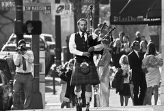 Rendering Homage Throughout Portlandia (Ian Sane) Tags: street city family musician white man black streets oregon bag portland ian photography downtown kilt candid pipes broadway images parade madison portlandia leader bagpipes avenue performer homage rendering sane throughout