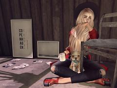 Tears. (~ ds tll) Tags: mikunch magika snowflakesdesigns addams itdoll doll sl secondlife avatar fashion lotd girl red pet dog cute tears cry sad mug coffee lavianco