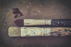 Pinceles (Graella) Tags: pinceles pinzells brush pintura painting paint pintar oleo marrn marr brown cenital texture