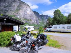 Lovely place at Soelvgarden. (topzdk) Tags: motorcycle mc norway honda bmw nature solvgardencottages brokke rysstad 2016 summer