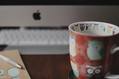 Editing day! (TheFreckledFrenzy) Tags: sigma art lens sigma35 tea apple ma mac imac blogger blogging owl owls coffee mug cute moody photographer life