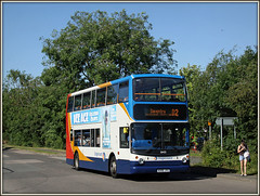 18405 Long March (Jason 87030) Tags: d2 longmarch daventry dennis trident alx 400 18405 northants morning summer sun sunny northamptonshire person girl legs weather trees estate dav 2016 canon roadside view scene doubledecker kx06jyg iceage advert