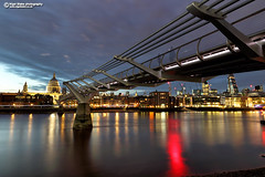 The Millennium Bridge and St Paul's Cathedral (Nigel Blake, 13 MILLION...Yay! Many thanks!) Tags: the millennium bridge st pauls nigelblakephotography nigelblake london night scene lights thames photography england uk capital city cathedral englad sunset dusk nigel canon
