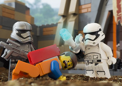 It's not that kind of resistance (tomtommilton) Tags: lego minifigures toy toyphotography macro movie emmet resistance piece starwars firstorder captain phasma stormtrooper tr8r bb8 diorama vignette crossover theforceawakens