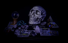 Getting In Touch With The Evil Dead (IAN GARDNER PHOTOGRAPHY) Tags: skull tarot crystalball crystals runestones occult