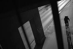Elastic shadow time (Bjarne Erick) Tags: bike bicycle rider biking cyclist backlight street blackwhite blackandwhite bw noirblanc monochrome contrasty fuji x100t 23mm 35mm