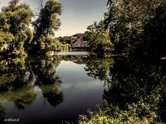 unten am Fluss (eckiblues) Tags: neckar river morning mood reflection cyclingtour reutlingenmittelstadt