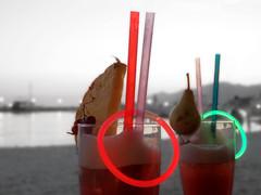 Drinks on the beach (M.patrik) Tags: drinks colorful blackwhite pineapple pear blur bokeh water dark bakavoda croatia fruit straws