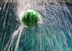 Water Tricks (B2 Photography) Tags: water ball spray annarbor handsonmuseum annarborhandsonmuseum green blue stopaction floating floatingball