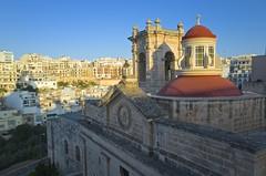 Melliea rooftops, evening (jeremyhughes) Tags: melliea mellieha malta evening church sanctuary dome rooftops town cityscape ricoh gr ricohgrd grd wideangle