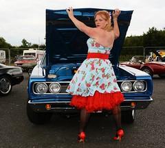 Ange L'Que_8796 (Fast an' Bulbous) Tags: high heels stilettos stockings dress girl woman car vehicle muscle automobile oldtimer classic american santa pod chick babe mature milf nikon d7100 gimp