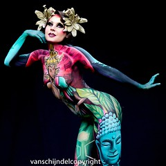 European Bodypainting Awards 2016 Lisse (JanvanSchijndel) Tags: roxanne rosa grace williams art bodypaint ebf lisse festival body bodypainting color location woman women nude face contrast bokeh light international pose expression holland dutch country famous info geotag geotagged people visit travel european europe french colors yellow eyes composition artist world details red