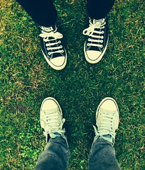 Double Trouble (WatermelonHenry) Tags: caravan outdoors tymawr chucks chucktaylor laces candidfeet pov feet wales grass skyblueconverse blackconverse pairs trainers pumps allstars converseallstars converse