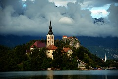 The Church of the Assumption (audun.bie) Tags: church bled slovenia island lake castle