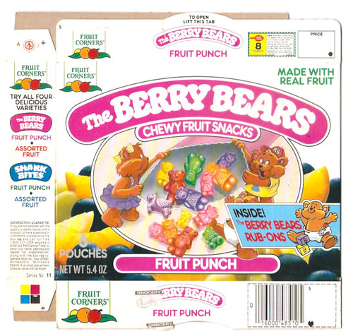 1989 Fruit Corners The Berry Bears Chewy Fruit Snacks Box