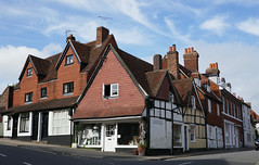 Handsome old buildings facing Kingsbury and Silverless Streets, Marlborough (Monceau) Tags: marlborough wiltshire uk peaks halftimbered buildings corner kingsbury silverless street