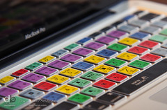 Sept 9th -  Photoshop Keyboard (The Developing Tank) Tags: laptop macbookpro photoshop keyboard overlay closeup apple mac sigma50150 colors letters shortcuts square word work photography design help training