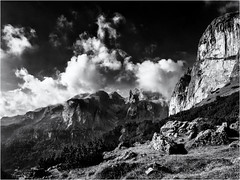 Climbing, walking or flying... (Ody on the mount) Tags: anlsse berge dolomiten gipfel himmel italien sellamassiv sdtirol urlaub wanderung wolken bw monochrome sw