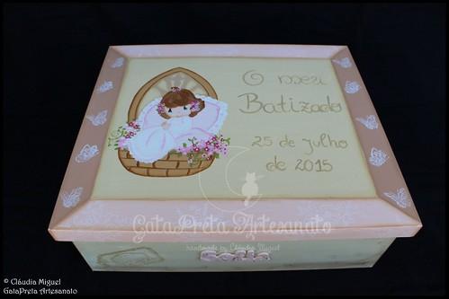 """Caixa grande de batizado """"Flor de Pêssego"""""""