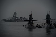 Submarine (Ka-merameha) Tags: submarine warship sea ocean harbor boat rain japan
