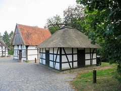 IMG_5304 (jaglazier) Tags: 18thcentury 18thcenturyad 2016 91416 architecture barns bauernmuseum bielefeld buildingmuseums buildings cloth copyright2016jamesaglazier deciduoustrees farmhouses farmmuseum germany houses mills museums september teutoburg teutoburgforest teutoburgerwald thatch trees woodenbuildings clouds flax halftimbered linen retting technology thatched timber nordrheinwestfalen