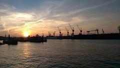 Sunrise at Hamburg harbor, fishmarket (maalynce) Tags: hamburg dusk sunrise port harbor fishmarket tourist home sky