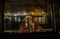 Leaving berth (Per-Karlsson) Tags: tanker oiltanker vessel port inport dublin night harbour cranes canoneos6d maritime industry oilindustry