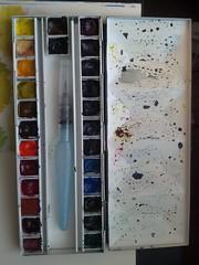Current Watercolor Palette (omanomagon) Tags: watercolor palette artsupplies sketchkit flickrandroidapp:filter=none
