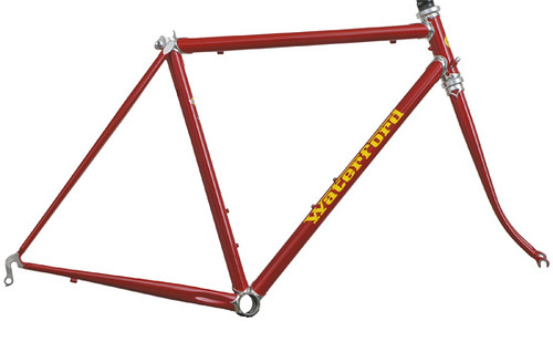 "<p>Waterford 22-Series Artisan design with stainless lugs, seat cluster and bottom bracket.  Styled in Ferrari Red with custom yellow masked Waterford using the clasic Ferrari font. <a href=""http://waterfordbikes.com/w/bikes/artisan/"" rel=""nofollow"">Learn more . . .</a></p>"