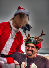 Reindeer (aka Buddy) Tags: santa christmas red fall canon season eos rebel newjersey lounge asburypark nj hats og elf santacon monmouthcounty hdr watermark 2012 elves photomatix tonemapped 550d t2i efs18135mmf3556is