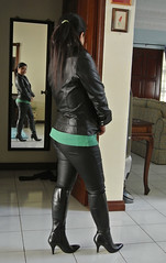 Black Leather Jacket and Boots (johnerly03) Tags: black leather fashion hair asian long boots philippines jacket filipina erly