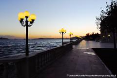 Bosphorus waterfront by the Ciragan Palace, Istanbul, Turkey (PowderPhotography) Tags: sunset lamp lumix istanbul panasonic embankment bosphorus sultanahmet lx5 ciraganpalace