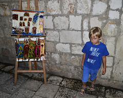 Dubrovnik - outside the synagogue (t.horak) Tags: boy painting souvenirs synagogue tourist jewish dubrovnik