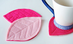 Pink felt leaf coasters (pickychicky) Tags: pink hot girl table pastel sewing cottage magenta chic setting homedecor coasters artsandcrafts shabby craftprojects