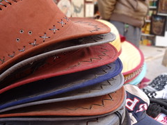 Madaba- Cowboy hats for Sale! (TaraCasey) Tags: travel blue red brown colour america grey us cowboy colours state market sale culture arab american western buy colourful tradition sell selling souq choose madaba