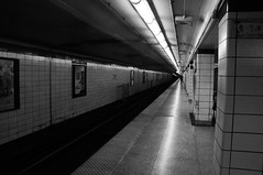 Bay Station (tawnee83) Tags: bw white toronto black station subway track ttc platform tracks