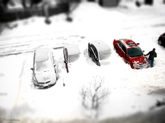 Digging out (Explored) (montreal_bunny) Tags: winter red snow cars december montreal snowstorm scattered odc tiltshift iamcanadian cmwdred ourdailychallenge 2012yip blinkagain 3662012