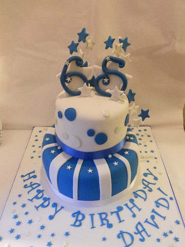 Blue Silver White 65th Birthday Cake Stars