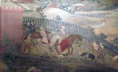 Detail outside the city gate from Ambrogio Lorenzetti's Effects of Good Government in the City and the Country