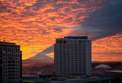 Living in the Shadow of the Mountain, Tacoma (tacoma290) Tags: shadow sky mountain skyline buildings fire nikon risk mountrainier pacificnorthwest tacoma drama pnw ranier livingintheshadowofthemountaintacoma