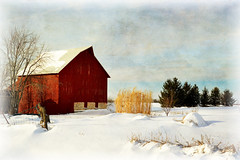 Snowy Red Barn (keeva999) Tags: winter red painterly texture rural nikon colorful farm country rustic barns iowa d3200 memoriesbook delanydean distressedjewell skeletalmess