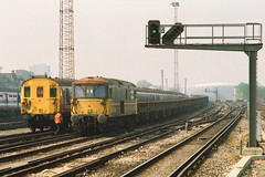 19910413 008 Clapham Junction. Class 414 2-HAP 4318 And Intercity Executive Liveried Class 73, 73114 Shunts GRAMPUS Wagons (15038) Tags: electric br trains emu locomotive railways britishrail claphamjunction 4318 class73 electrodiesel 73114 2hap class414