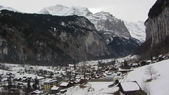 From the Cable Car overlooking Lauterbrunnen (deltrems) Tags: mountain snow car switzerland view swiss cable overlooking lauterbrunnen bernese berneseoberland